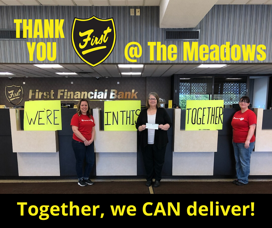 Thank you to the Employees of the Meadows First Financial Bank branch for their collection and donation.