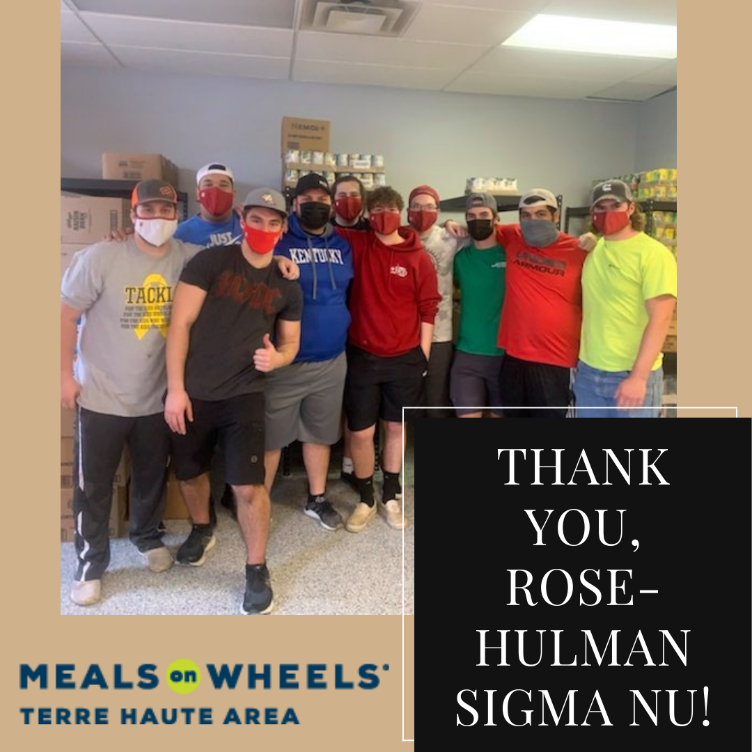 A huge thank-you to the Rose-Hulman chapter of Sigma Nu, who helped us construct and stock food shelves in our new building!